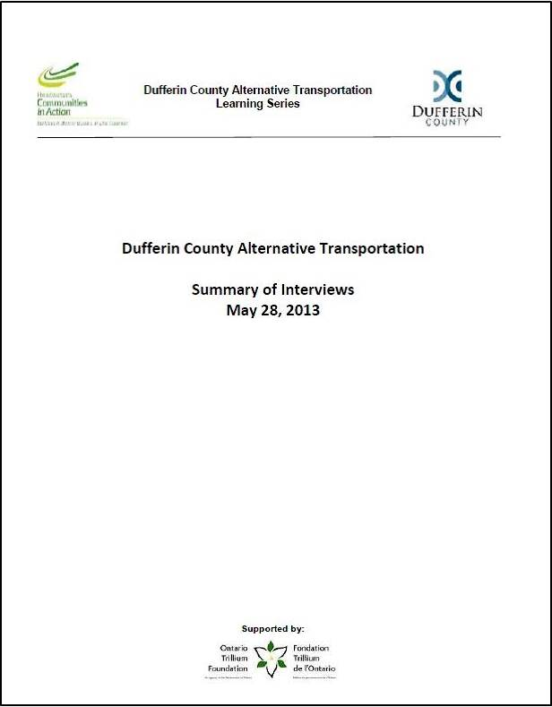 Dufferin 2013 Transportation Stakeholders Report