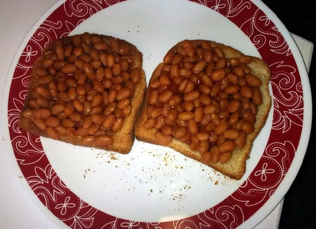 Beans on toast for lunch.